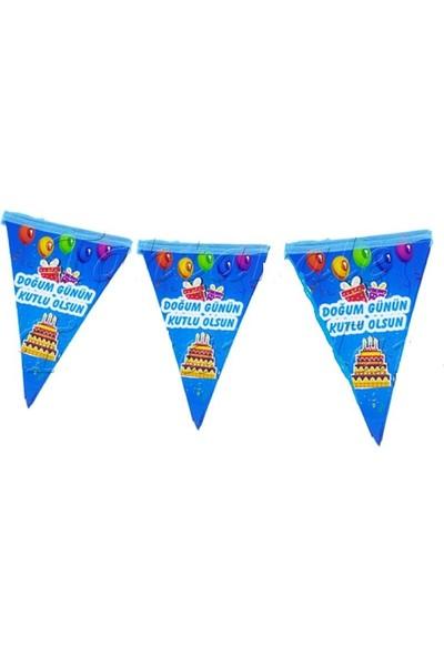 Balonpark 10 Bayraklı 2M Mavi Doğum Günüm Kutlu Olsun Yazılı Flama (Bayrak)