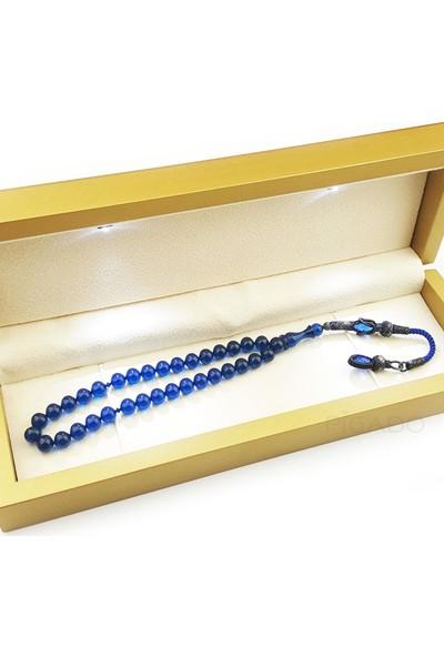 Pigado Kişiye Özel Işıklı Kutulu 1000 Ayar Gümüş Mavi Sıkma Kehribar Tesbih