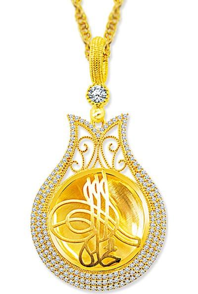 Pigado 925 Ayar Gümüş Tuğra Tasarım Altın Sarısı Lale Annelere Kolye