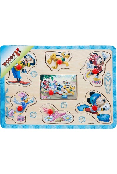 Woody Mickey Mouse Ve Arkadaşları Raptiyeli Ahşap Bul Tak Yapboz Mavi