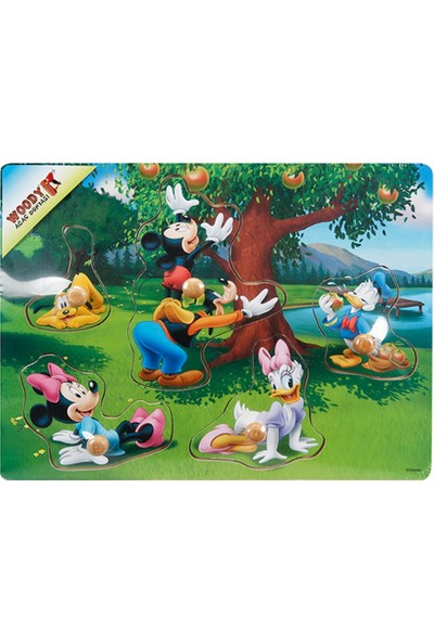 Woody Mickey Mouse Ve Arkadaşları 5 Parça Tutmalı Ahşap Bul Tak Yapboz Elma Ağacı