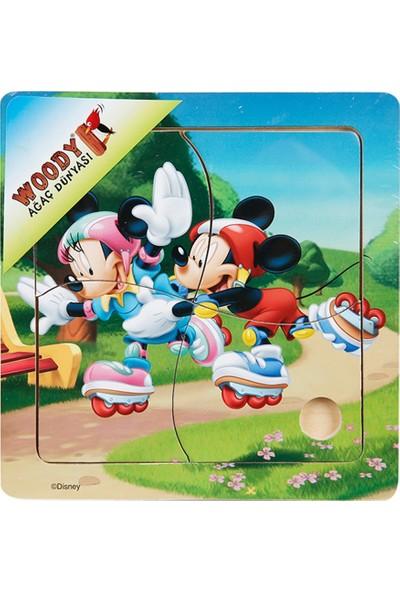 Woody Mickey Mouse Ve Arkadaşları 4 Parça Ahşap Oyuncak Yapboz Mickey Ve Minnie Paten Sürüyor