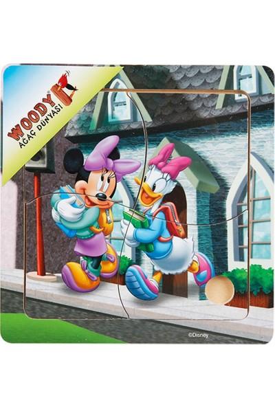 Woody Mickey Mouse Ve Arkadaşları 4 Parça Ahşap Oyuncak Yapboz Minnie Ve Daisy Okula Gidiyor