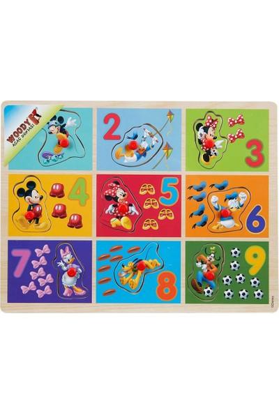 Woody Mickey Mouse Ve Arkaşları 9 Parça Raptiyeli Ahşap Bul Tak Rakamlar Yapboz