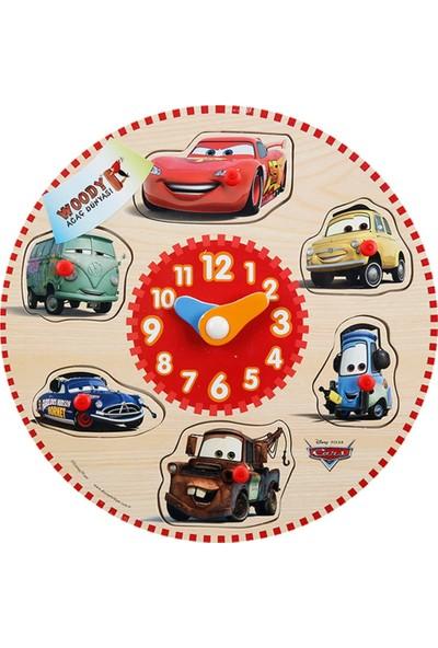 Woody Disney Cars Şimşek McQueen Ve Arkadaşları Ahşap Raptiyeli Bul Tak Yapboz Saat