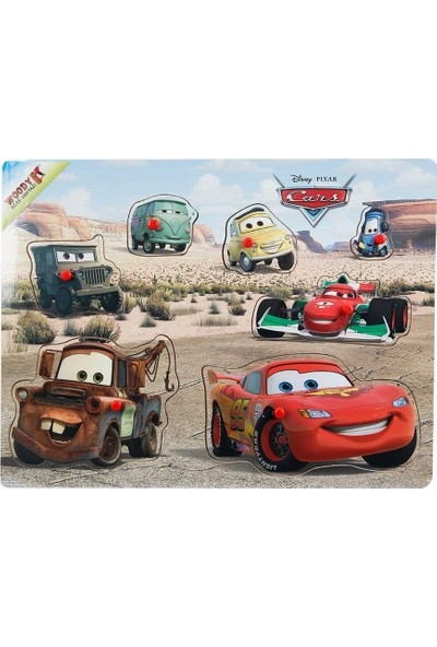 Woody Disney Cars Şimşek McQueen Ve Arkadaşları Raptiyeli Ahşap Bul Tak Yapboz Çöl
