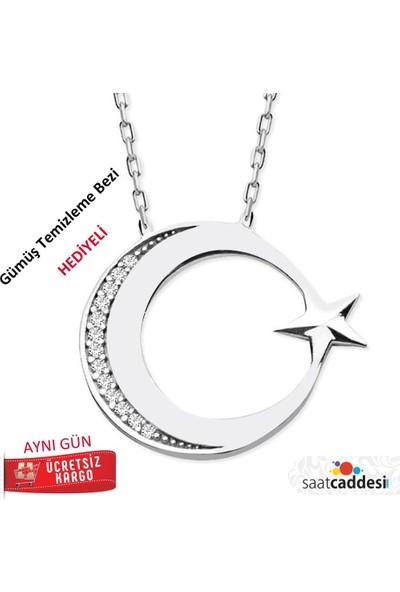 Pigado 925 Ayar Gümüş Zirkon Taşlı Ayyıldız Kolye