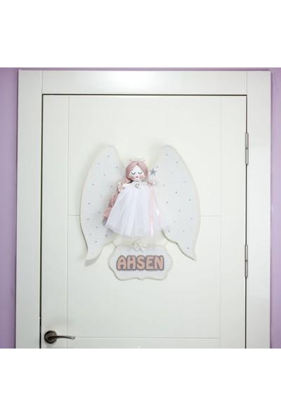 Renkli Hayallerim Mimoza Melek Kanatlı Kız Bebek Kapı Süsü