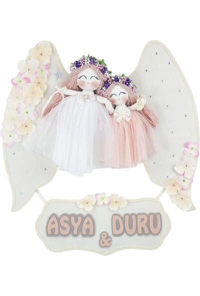 Renkli Hayallerim Kamelya İki Melek Kız Bebek Kapı Süsü