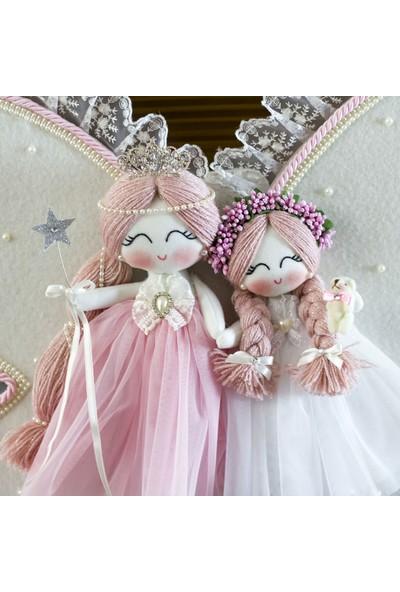 Renkli Hayallerim Manolya İki Kız Kardeş Melek Kanatlı Bebek Kapı Süsü