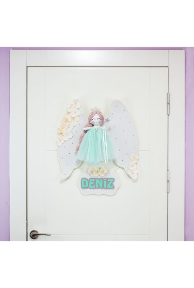 Renkli Hayallerim Papatya Melek Kanatlı Kız Bebek Kapı Süsü