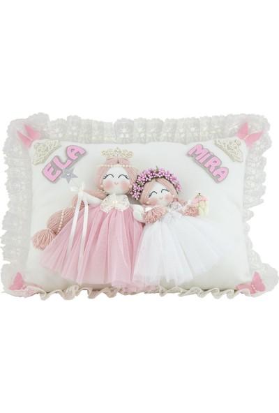 Renkli Hayallerim Manolya İki İsimli Melek Kız Bebek Takı Ve Süs Yastığı
