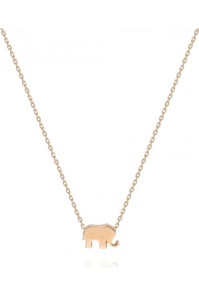 Pink Gold Store Elephants Kolye TA7907 Pembe Altın