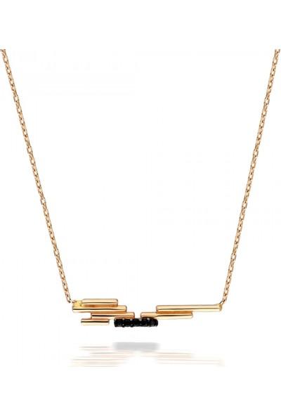 Pink Gold Store Steps Siyah Taşlı Kolye TA2386 Pembe Altın