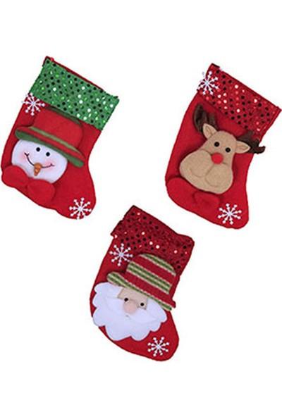 Kullan At Market Simli Yılbaşı Çorabı Karışık Desen 16 cm