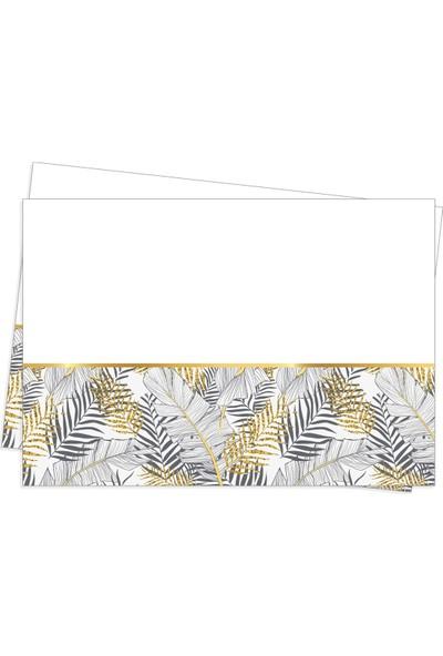 Roll-Up Plastik Masa Örtüsü Altın Simli Yapraklar Beyaz 120 x 180 cm