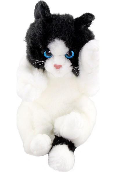Animals Of The World Oyuncu Yavru Siyah Beyaz Kedicik Peluş Oyuncak