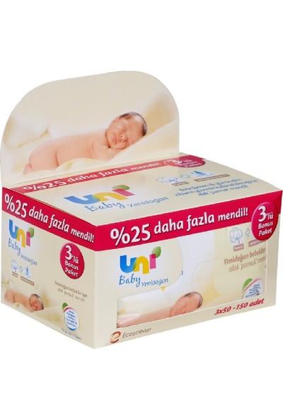 Uni Baby Yenidoğan Islak Pamuk Mendil 12'li 50x12 600 Yaprak
