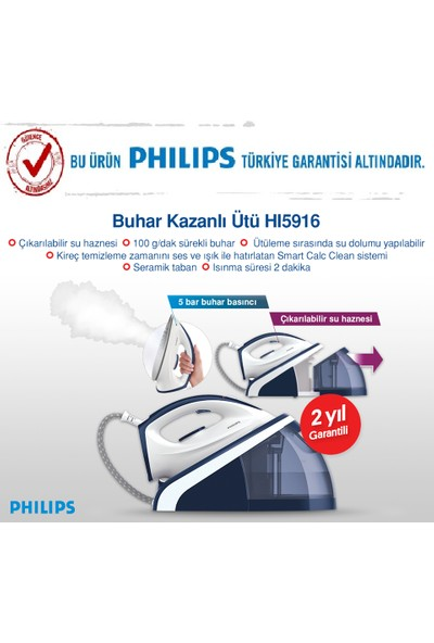 Philips 5 Bar HI5916/20 Buhar Kazanlı Ütü