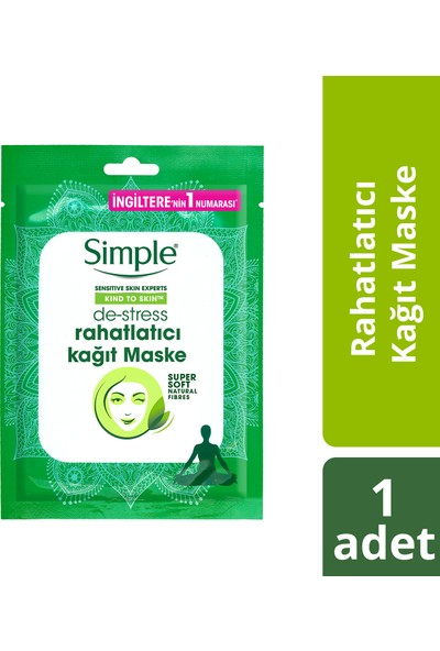 Simple Rahatlatıcı Kağıt Maske 1 Adet