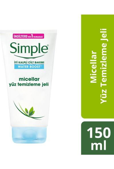 Simple Water Boost Kuru/Nemsiz Ciltler İçin Sert Kimyasal İçermeyen Micellar Yüz Temizleme Jeli 150 ML