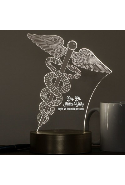 Hediye Sepeti Doktora Hediye Tıp Logolu 3 Boyutlu Led Lamba