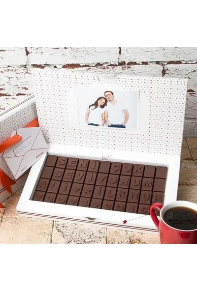 Hediye Sepeti Seni Çok Seviyorum Mesajlı Kişiye Özel Harf Çikolata