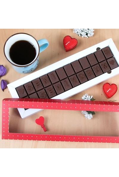 Hediye Sepeti Seni Seviyorum Mesajlı Harf Çikolata