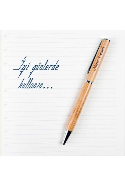 Hediye Sepeti İsim Yazılı Bambu Kutulu Kalem Seti