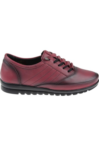 Shalin Hakiki Deri Kadın Ayakkabı Bty 1043 Bordo