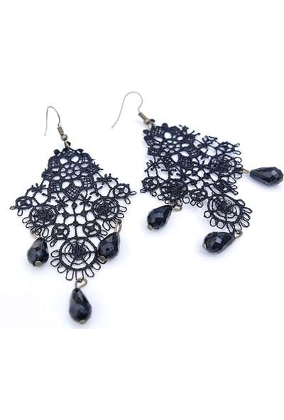 VipBT Siyah Gotik Dantel Bijoux Çiçek Küpe
