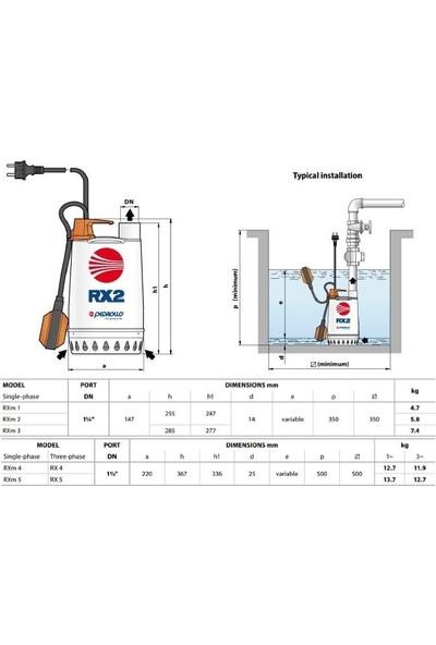 Pedrollo Rx 5 Flatörlü Full Paslanmaz Drenaj Dalgıç Pompa Trifaze(380 Volt) 20 Mss 18 M³/H