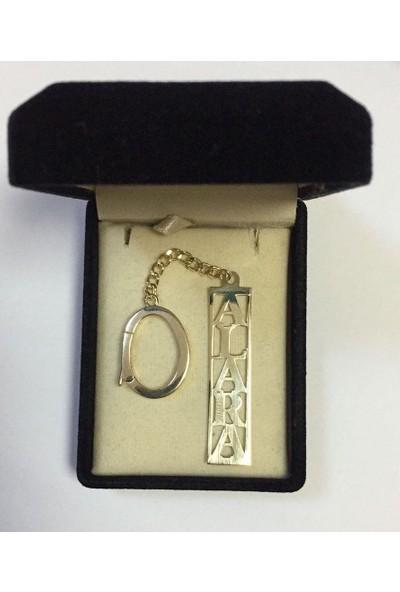 De Hari's Diamond İsim Yazılı Gümüş Anahtarlık