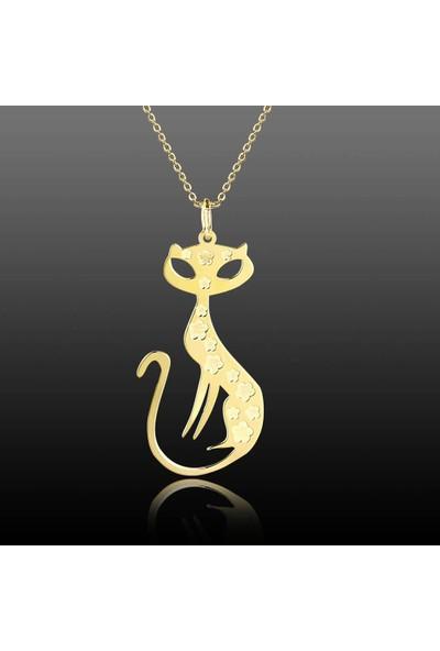 De Hari's Diamond Kedi Model İsim Yazılı Sevgi Kolyesi