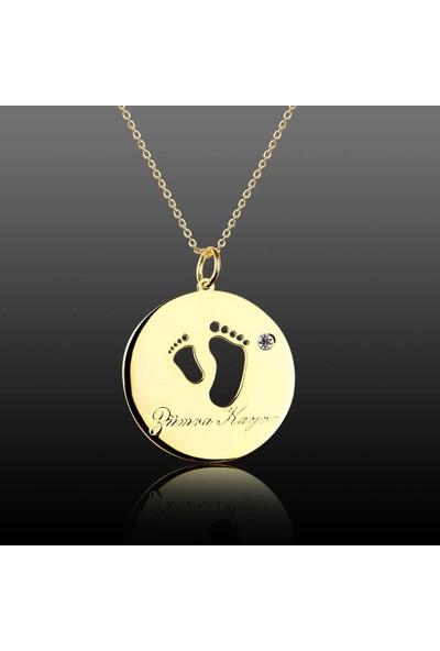 De Hari's Diamond Madalyon İçinde Bebeğimin Ayakları Aile Sevgi Kolyesi