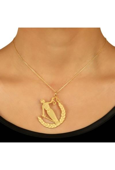 De Hari's Diamond Adalet Tanrıçası Altın Kaplama Kolyesi
