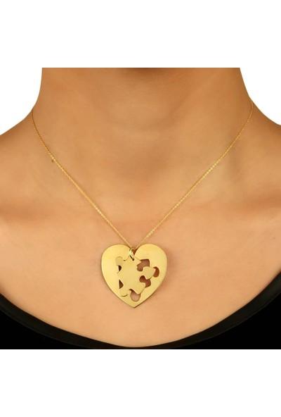 De Hari's Diamond Kalp Ve Puzzle İsim Yazılı Sevgi Kolyesi