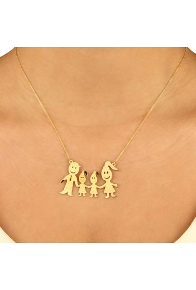 De Hari's Diamond Anne Baba 2 Kız Çocuk Aile Sevgi Kolyesi