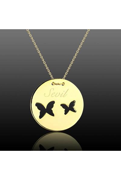 De Hari's Diamond Çift Kelebek İsim Yazılı Sevgi Kolyesi
