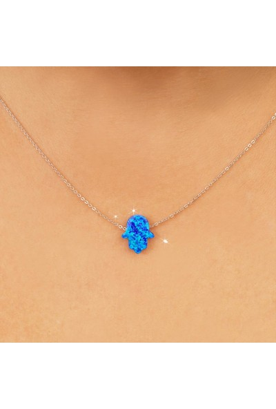 Kuyumcudükkanı Küçük Mavi Opal Taşlı Fatma Eli Kolye
