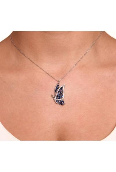 Kuyumcudükkanı Mavi Taşlı Beyaz Altın Kaplamalı Kelebek Kolye