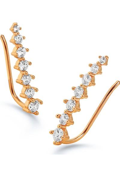 """Kuyumcudükkanı Sıra Taşlı Yeni Trend """" Ear Cuff """" Küpe - Rose Altın Renkli"""
