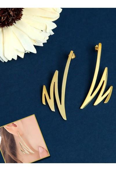 Kuyumcudükkanı Şimsek Modeli Yeni Trend Küpe - Altın Renkli