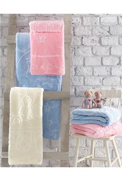 Cotton Box Emboss Bebek Battaniyesi Pembe