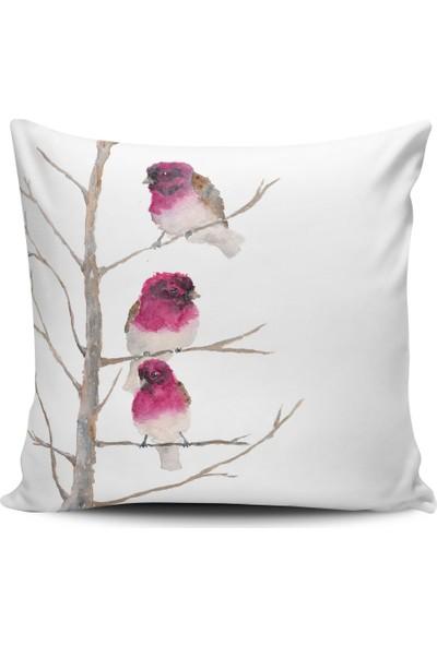 Alaca Kuş Desenli Modern Konsept Tasarım Kırlent Yastık