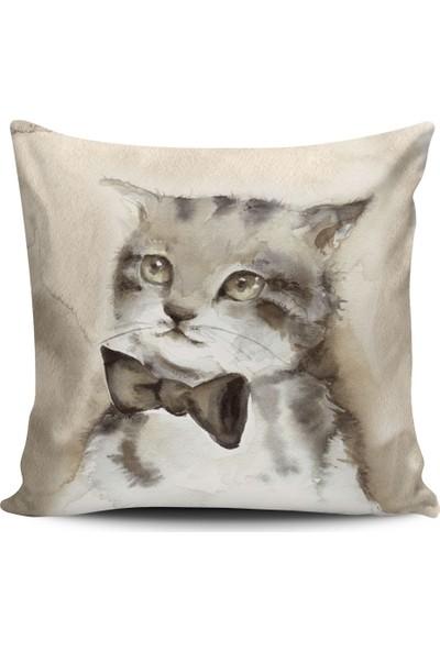 Alaca Kedi Temalı Konsept Modern Tasarım Kırlent Yastık