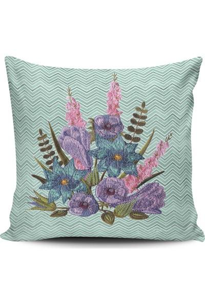 Alaca Klasik Çiçek Desenli Modern Tasarım Kırlent Yastık