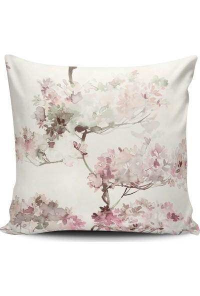 Alaca Dal Çiçek Temalı Modern Tasarım Kırlent Yastık