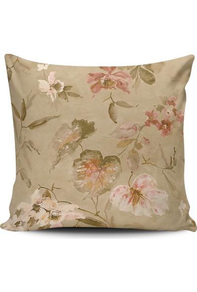 Alaca Sulu Boya Çiçek Temalı Modern Tasarım Kırlent Yastık