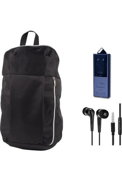 Evocase EVO7001 Notebook Sırt Çantası Siyah + Dexim Mikrofonlu Kulakiçi Kulaklık